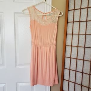 XS Propaganda Pink Dress with Floral Lace